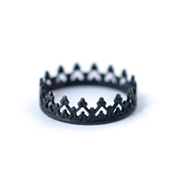 Queen Crown Ring - Oxidized Silver Stackable Rings| LoveGem Studio