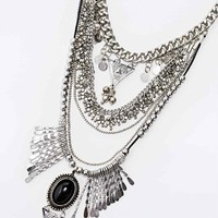 Cord Statement Necklace in Silver - Urban Outfitters
