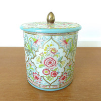 Turquoise and pink floral biscuit tin made in Holland