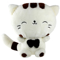 Cute Long Tail Big Face Cat Stuffed Doll Toy with Bow Tie
