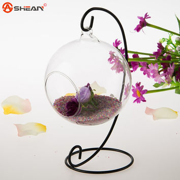 New Hot Clear Glass Round with 1 Hole Flower Plant Stand Hanging Vase Hydroponic Home Office Wedding Decor