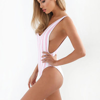 Tiger Mist Blush Stripe Scoop Swimsuit Monokini