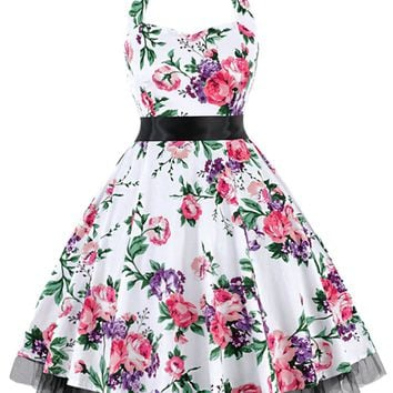 Atomic White Floral Halter Swing Dress