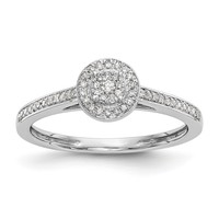 14K White Gold Multi-Stone Diamond Round Halo Engagement Ring