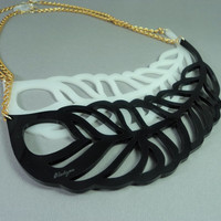 Black Statement necklace laser cut acrylic / bib necklace