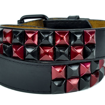 Black and Red Metallic 2 Row Pyramid Stud Belt Genuine Leather