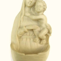 Vintage Holy Mary Water Font . Virgin Mary and Child . Baby Jesus . Stone Water Font .