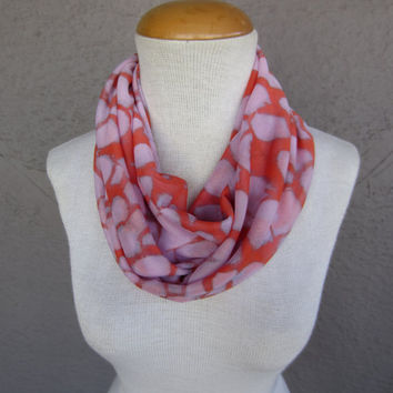 Modern Print Infinity Scarf - Melon and Lavender Print Scarf - Extra Light Circle Scarf