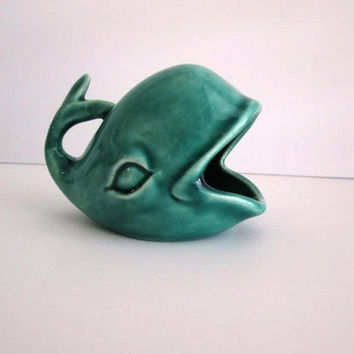 Whale Ring Holder- Ring Jewelry Display-Toothpick Holder-Ceramics Handmade in Sea Mist Green-This Cute Whale is in stock and ready to ship!-