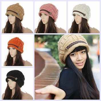 Womens Winter Clothing Shirts Hats Thermal Protection Knit Woolen Caps