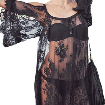 Black Lace Beach Kaftan