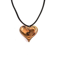 Wooden Heart Necklace, Wood Jewelry, Heart Pendant, Wood Carved Pendant, Wood Pendant, Heart Carved Pendant, Wooden Jewelry, Wooden Pendant