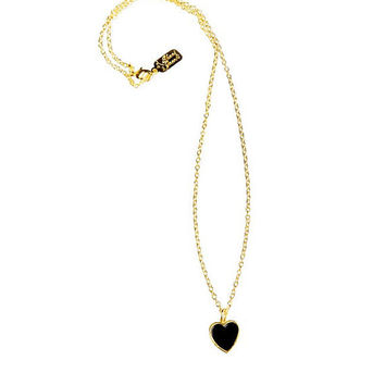 Black Heart Necklace,gift, 24k gold plated '
