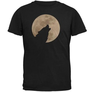 CREYCY8 Wolf Howling Moon Silhouette Mens T Shirt