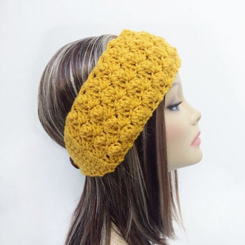FREE SHIPPING - Crochet, Bobble, Ear Warmer, Headband - Womens - Gold, Yellow