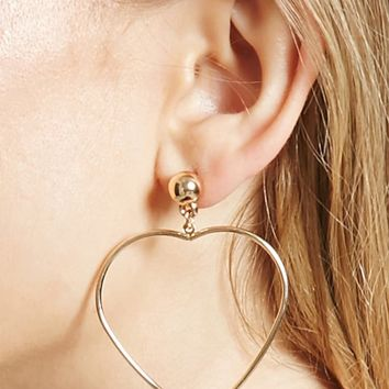 Heart Hoop Drop Earrings