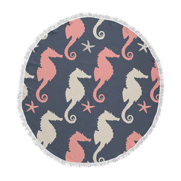 """afe images """"Gray and Coral Seahorses"""" Coral Gray Digital Round Beach Towel Blanket"""