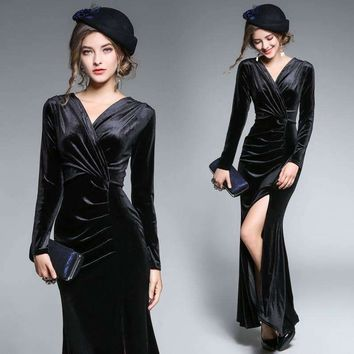 Womens Dress Draped Floor-Length Dress Velvet Sheath Patch