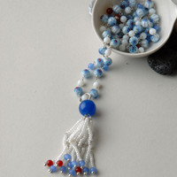 White, Blue and Red Glass and Quartzite Tassel Silver Necklace