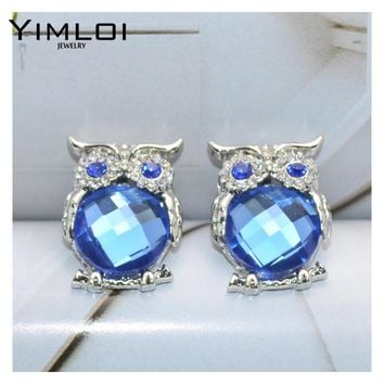 New Design Crystal Women Charms Owl Stud Earrings Cute Colors Fashion Jewelry White Silver Color Trendy For Wedding E298