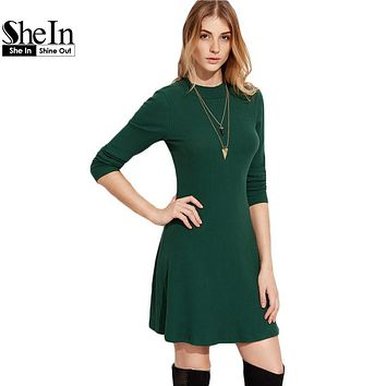 SheIn Casual Dresses For Women 2016 Autumn Ladies Plain Green Round Neck Long Sleeve Ribbed A Line Skater Dress