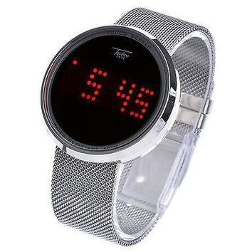 Jewelry Kay style Men's Techno Pave Digital Touch Screen LED Mesh Metal Band Watch WM 8245 S