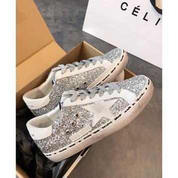 Golden Goose Ggdb Hi Star Sneakers With Glitter, White Star And White Heel Tab - Best Online Sale