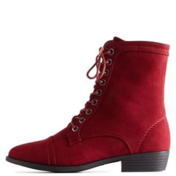 Burgundy Bamboo Almond Toe Lace-Up Combat Boots