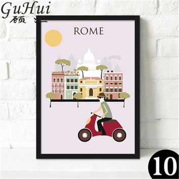Rome Red Scooter: Modern City Wall Art Series