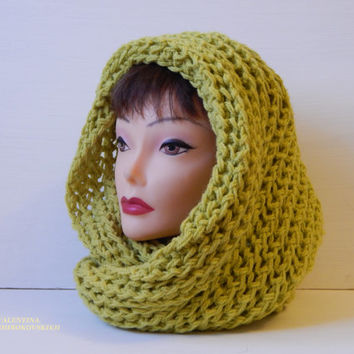 Knitted scarf. Women Knitted Scarf. Crochet Infinity Scarf Cowl Neck Warmer Circle Scarf Knit Olive Green Tweed