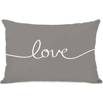 """Love"" Indoor Throw Pillow by OneBellaCasa, Grey/White, 14""x20"""