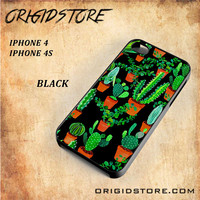 Cactus Black Pattern For Iphone 4 Case - Gift Present Multiple Choice