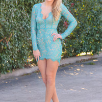 Lady of the Hour Long Sleeve Dress  - Turqoise