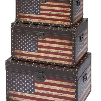 Wooden and Leather Trunk with American Flag Design Set of 3