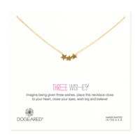 """Gold Dipped 18"""" Three Wishes Triple Star Necklace"""