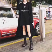 """Balenciaga"" Women Simple Letter Print Medium Long Section Long Sleeve Sweater Mini Dress"
