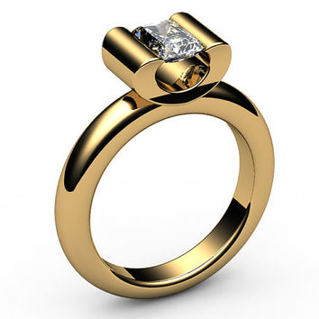Diamond Engagement ring, Radiant cut, Solitaire Diamond Ring,0.70 carat,18K Yellow,18K White gold