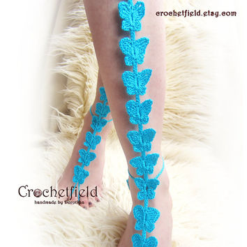 Glamour BUTTERFLIES crochet barefoot sandals, knee high, gladiator boots, long, lace, beach, pool, leggings, Nude shoes, Foot jewelry