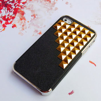 Luxury Leather 3D Golden Metal Studded Trim Russian Puzzle Cool deluxe Chrome Plating Hard case Cover for iPhone 5 5G
