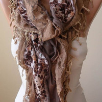 New - Brown Ruffle Scarf with Lace and Cotton Fabric