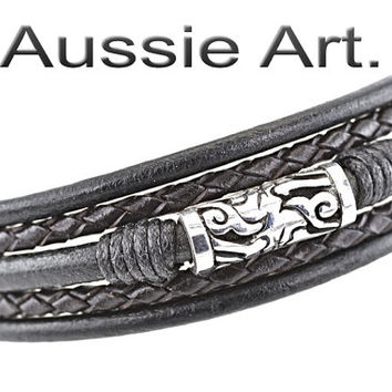 B-097 Aussie Made Sterling Silver Leather Black Onyx New Wristband Men Bracelet
