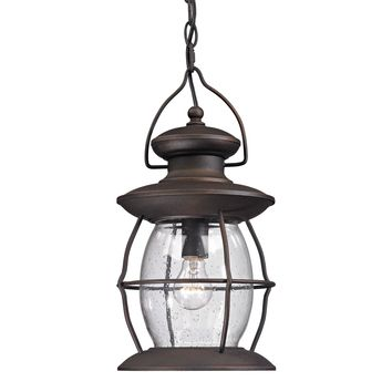 Village Lantern 1 Light Outdoor Pendant In Weathered Charcoal