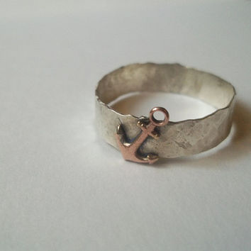 Rose Gold Anchor Ring, Hammered Sterling Silver, Handforged Ring, Chunky Silver Ring