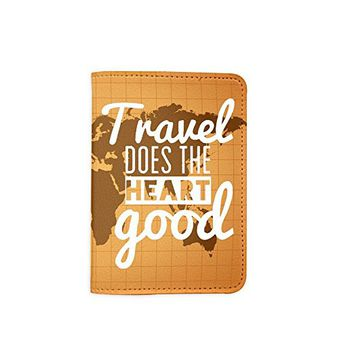Travel Does The Heart Good World Map Leather Passport Holder - Passport Protector - Passport Cover - Passport Wallet_SUPERTRAMPshop