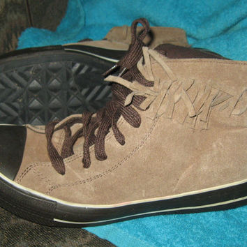 VINTAGE 1990s Airwalk brown suede leather fringe moccasin style ankle boot sneakers sz us 8