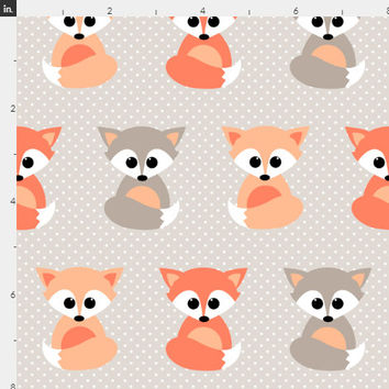 Baby Fox Fabric by the Yard Cotton Fabric Baby Woodland Foxes Nursery Organic Cotton Knit Minky Fabric Childrens Fabric 2351738