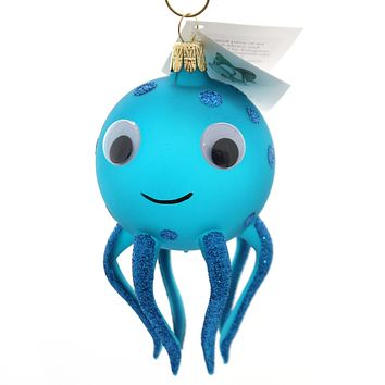 Golden Bell Collection Turquoise Octopuss Glass Ornament