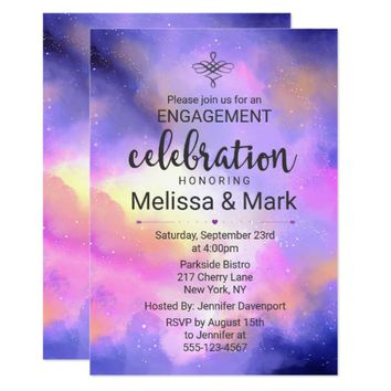Cool Watercolor Space Engagement Party Invite