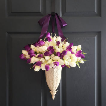 Tulips Door Container Wreath - Spring Front Door Decoration - WREATHS - Easter Decorations - Door Decor - Wreaths