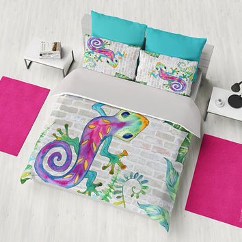 Gecko Duvet Cover or Comforter,  tropical, cute, ,whimsical, fun bedroom decor refresh